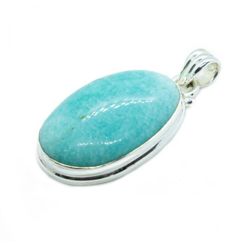 Sri Avinash Infused™ 19.7cts Peruvian Amazonite Pendant in Sterling Silver - Perfect Health Infusion