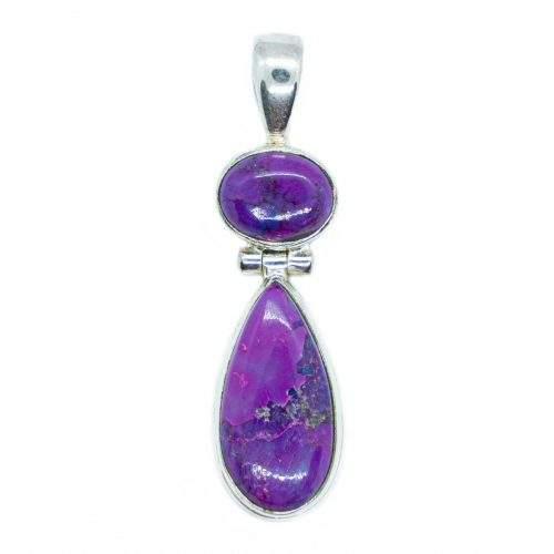 Sri Avinash Infused™ 11.7cts Purple Copper Turquoise Pendant in Sterling Silver - Perfect Health Infusion