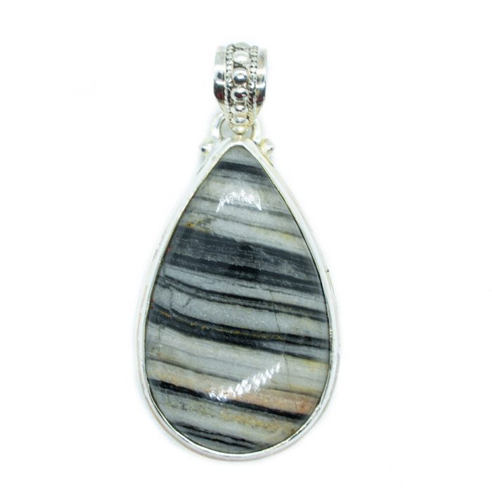 Sri Avinash Infused™ 25.6cts Zebra Jasper Pendant in Sterling Silver - Perfect Health Infusion