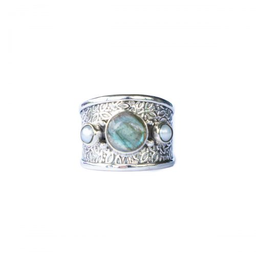 Sri Avinash Infused™ 5.5cts Labradorite & Pearl Ring in Sterling Silver - Creative Power Infusion