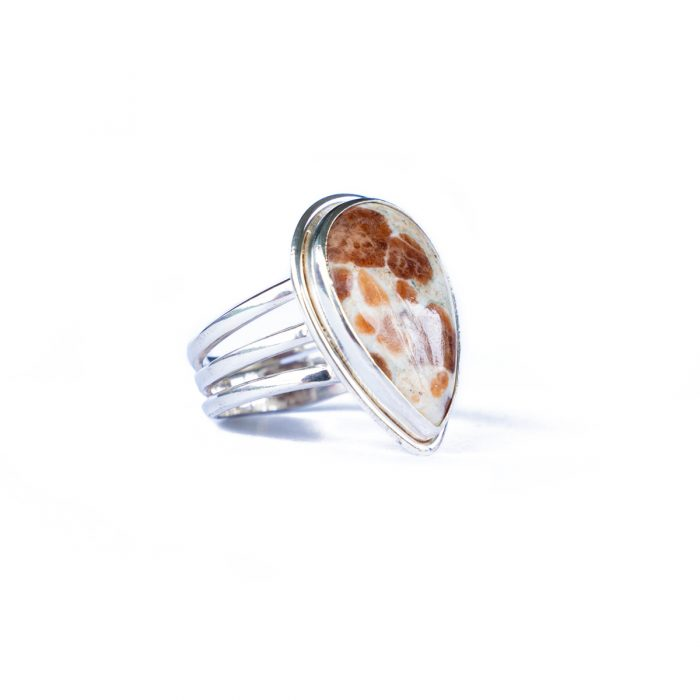 Sri Avinash Infused™ Garnet in Limestone Spessartine Ring in Sterling Silver - Creative Power Infusion