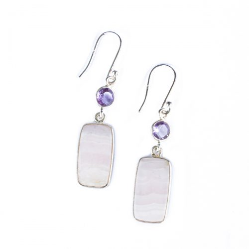 Sri Avinash Infused™ 17.4cts Lace Agate & Amethyst Earrings in Sterling Silver - Creative Power Infusion