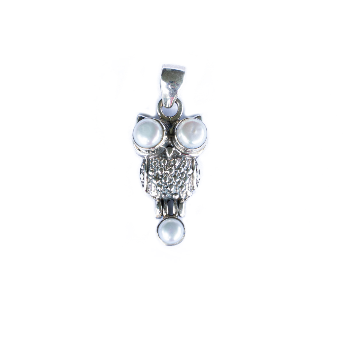Sri Avinash Infused™ 3.8cts Pearl Owl Pendant Pendant in Sterling Silver - Creative Power Infusion