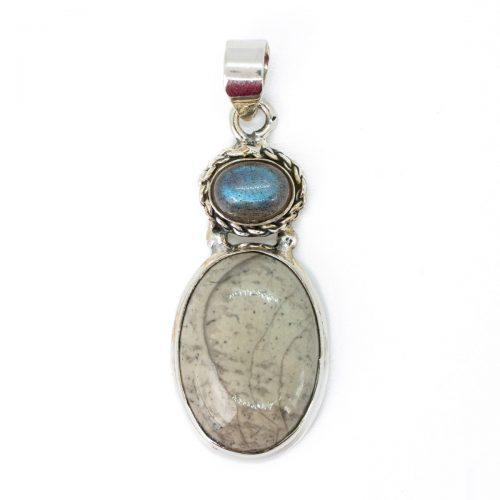 Sri Avinash Infused™ Mushroom Rhyolite & Labradorite Pendant in Sterling Silver - Perfect Health Infusion