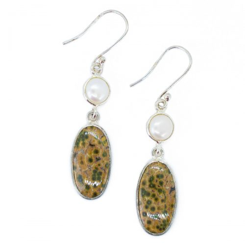 Sri Avinash Infused™ 12.9cts Ocean Jasper & Pearl Earrings in Sterling Silver - Perfect Health Infusion