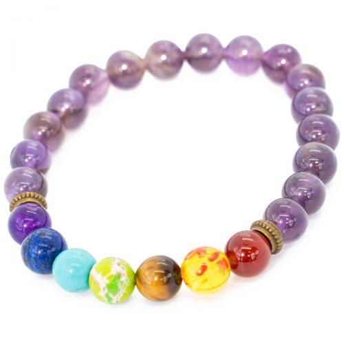 Sri Avinash Blessed™ Amethyst Chakra Mala Bracelet