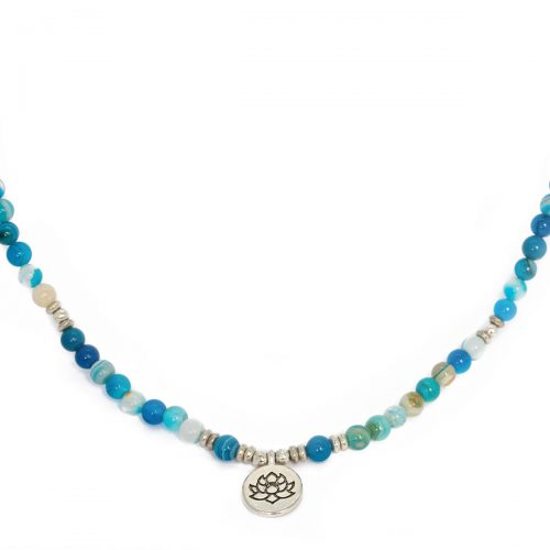 Sri Avinash Blessed™ Blue Agate Lotus Mala Necklace