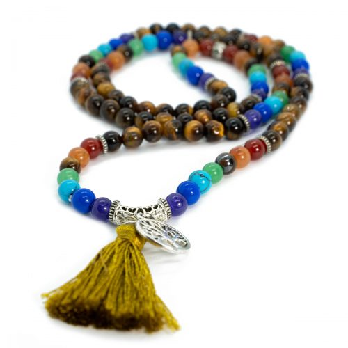 Sri Avinash Blessed™ Tiger's Eye Chakra Mala Necklace