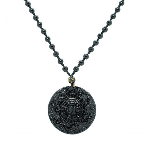 Sri Avinash Blessed™ Obsidian Taiji Bagua Necklace