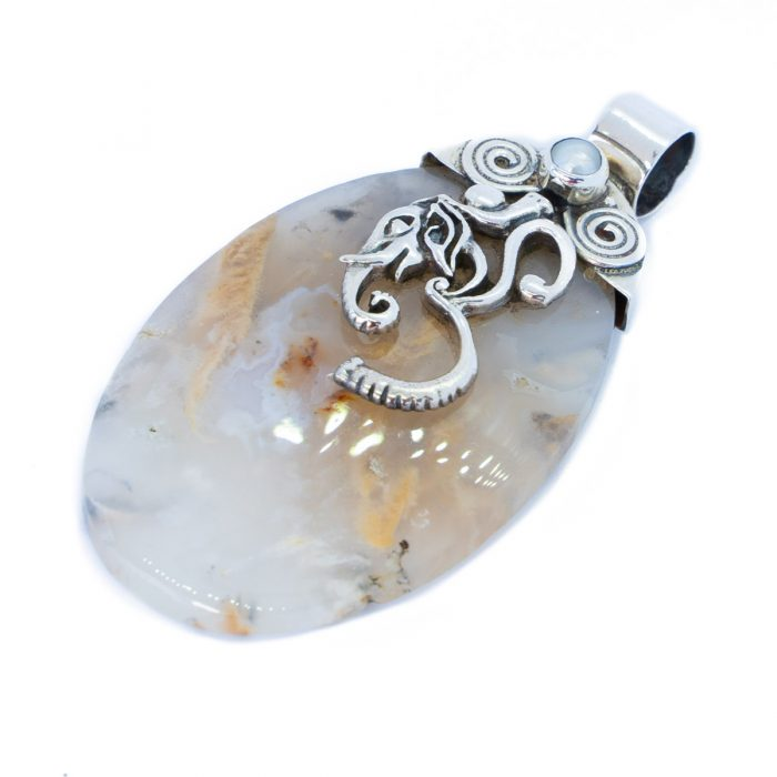 Sri Avinash Infused™ Scenic Dendritic Agate and Pearl Ganesha Om Pendant in Sterling Silver - Love & Compassion Infusion