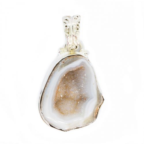Sri Avinash Infused™ 18cts Geode Druzy Pendant in Sterling Silver - Lightness & Joy Infusion