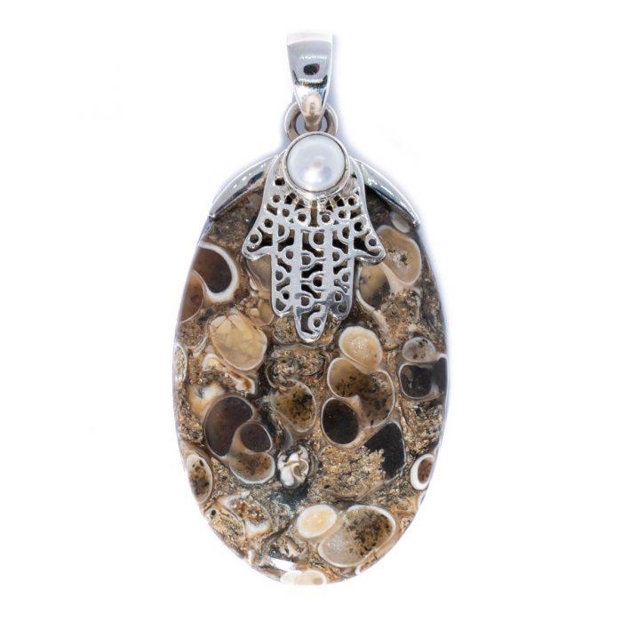 Sri Avinash Infused™ Elimia Turitella Agate Pendant in Sterling Silver - Lightness & Joy Infusion