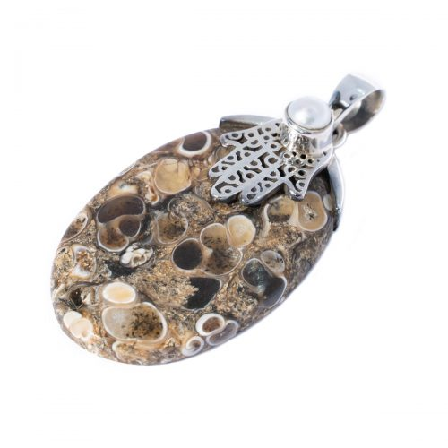 Sri Avinash Infused™ Elimia Turitella Agate Pendant in Sterling Silver - Lightness & Joy Infusion