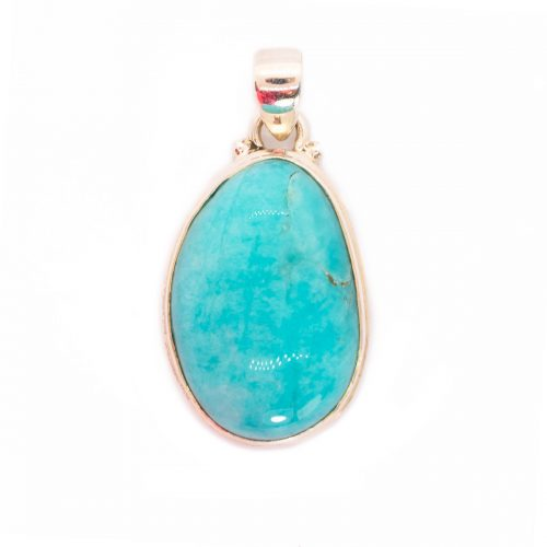 Sri Avinash Infused™ 25cts Peruvian Amazonite Pendant in Sterling Silver - Love & Compassion Infusion