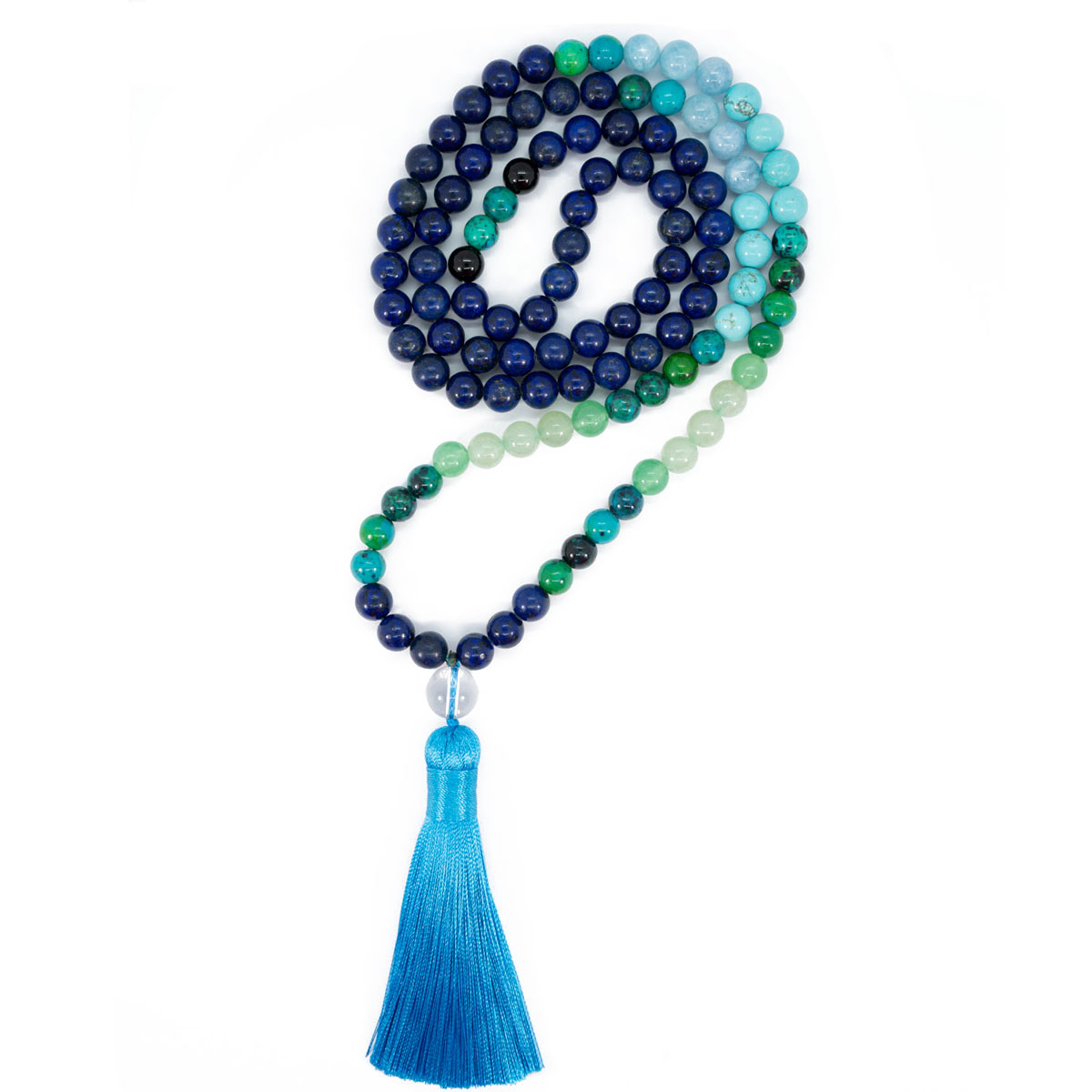 Sri Avinash Blessed™ Lapis Lazuli, Aventurine & Chrysocolla Mala Necklace