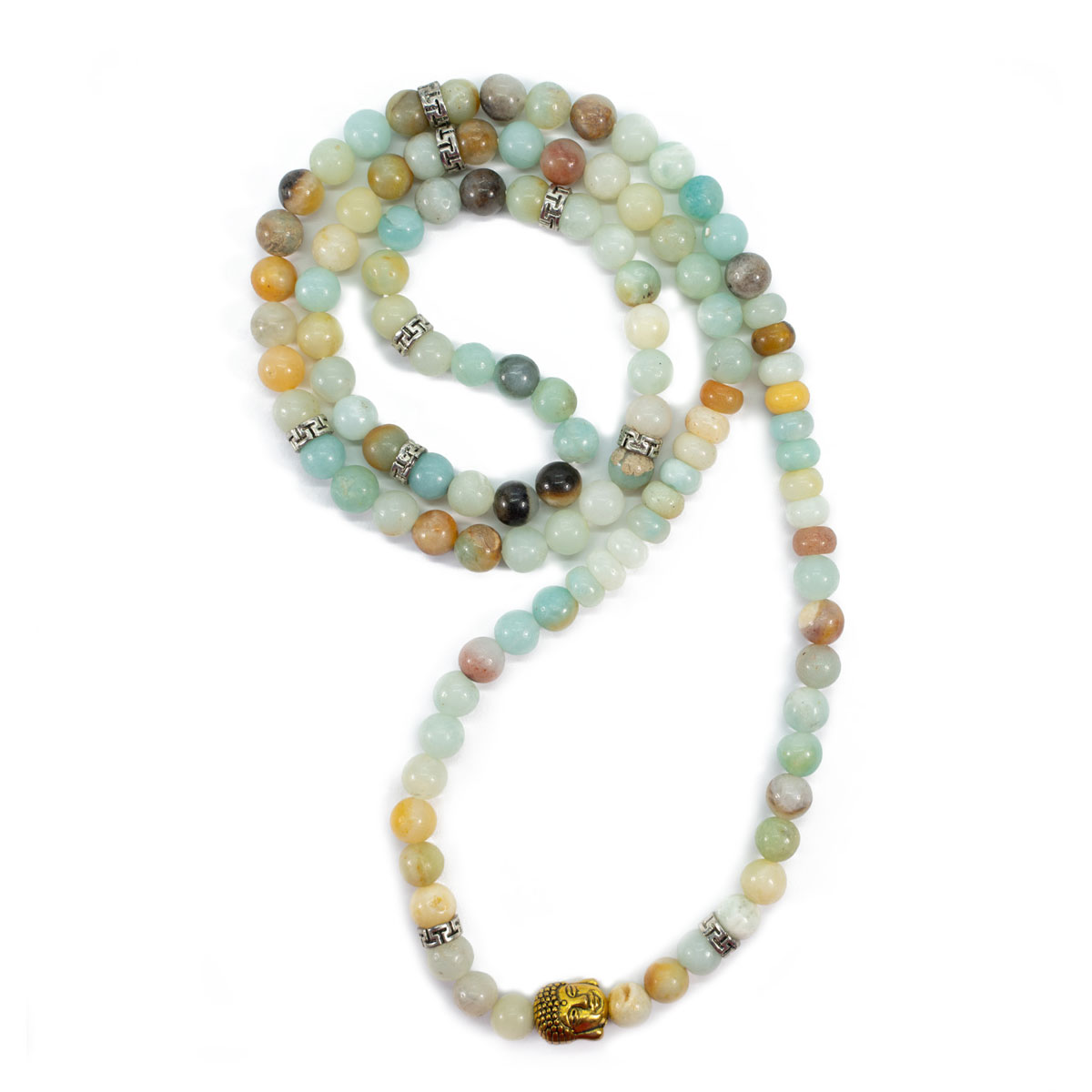 Sri Avinash Blessed™ Amazonite & Buddha Mala Necklace