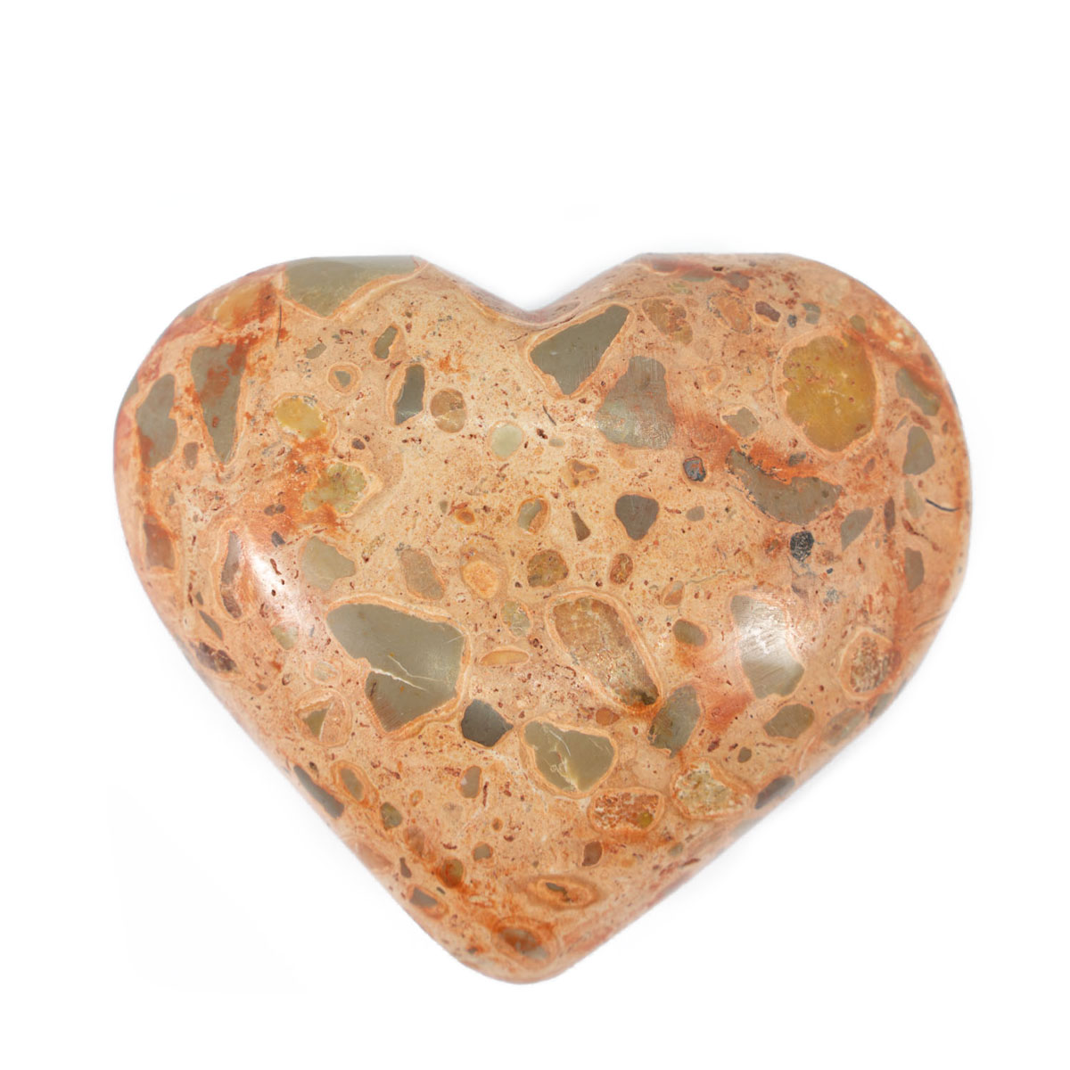 Sri Avinash Infused™ Leopardite Jasper Crystal Heart - Perfect Health Infusion