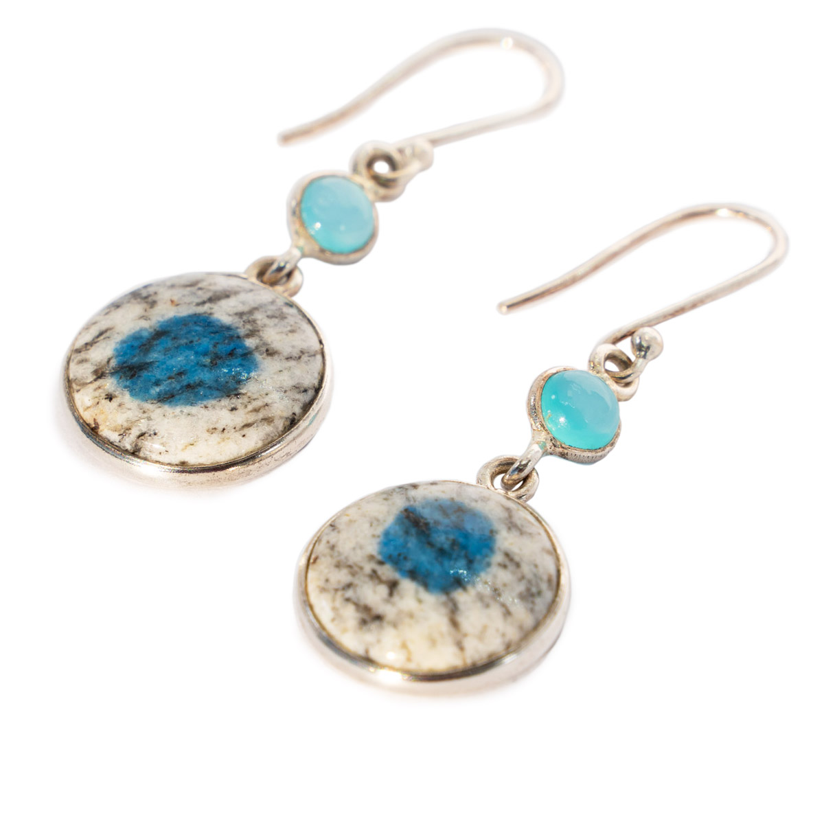 Sri Avinash Infused™ 14.59cts K2 Jasper (Azurite in Quartz) & Chalcedony Earrings in Sterling Silver - Lightness & Joy Infusion