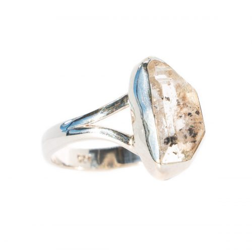 Sri Avinash Infused™ 5.5cts Herkimer Diamond Solitaire Ring in Sterling Silver - Divine Spirit & Protection Infusion