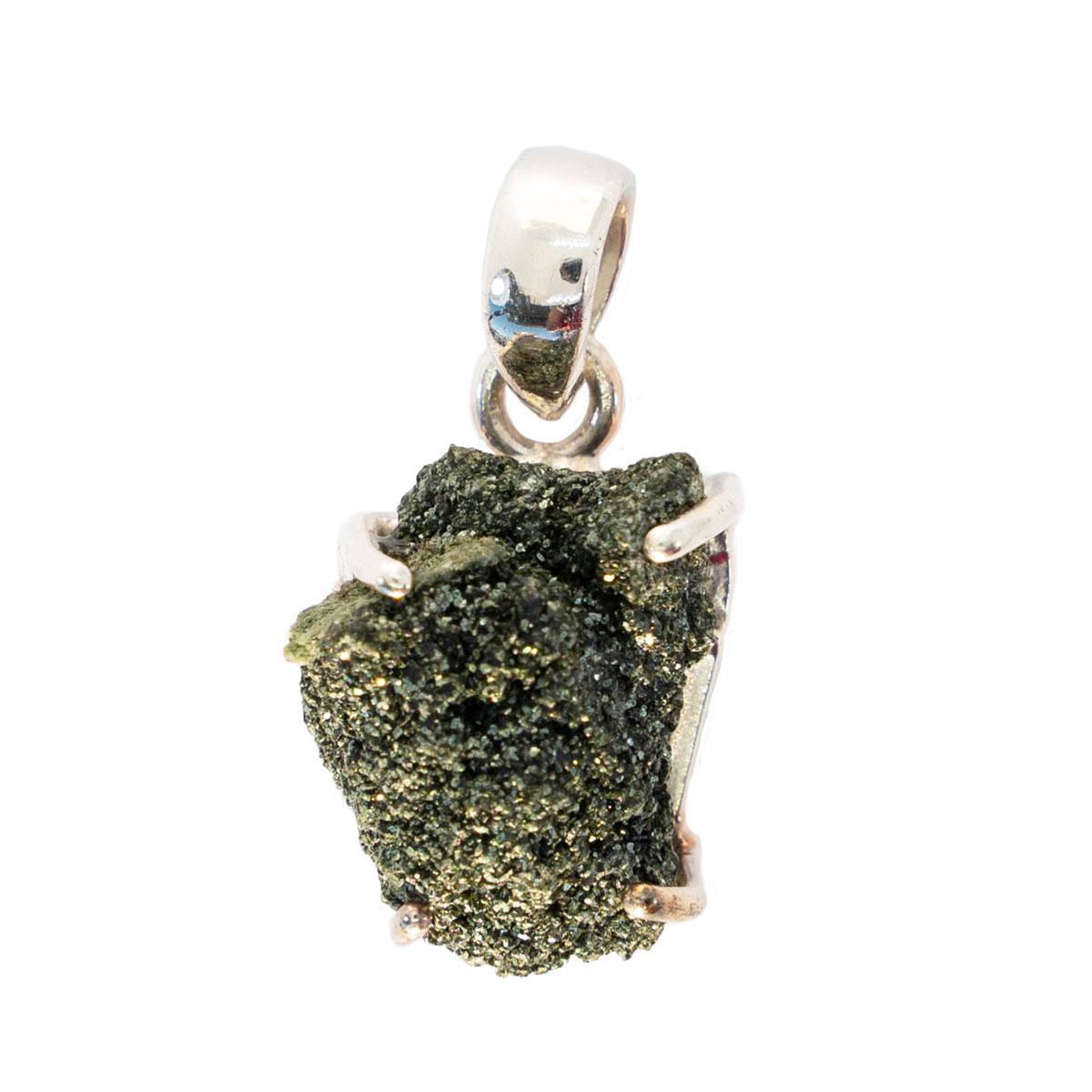 Sri Avinash Infused™ 11cts Green Seraphinite In Quartz Pendant in Sterling Silver - Divine Spirit & Protection Infusion