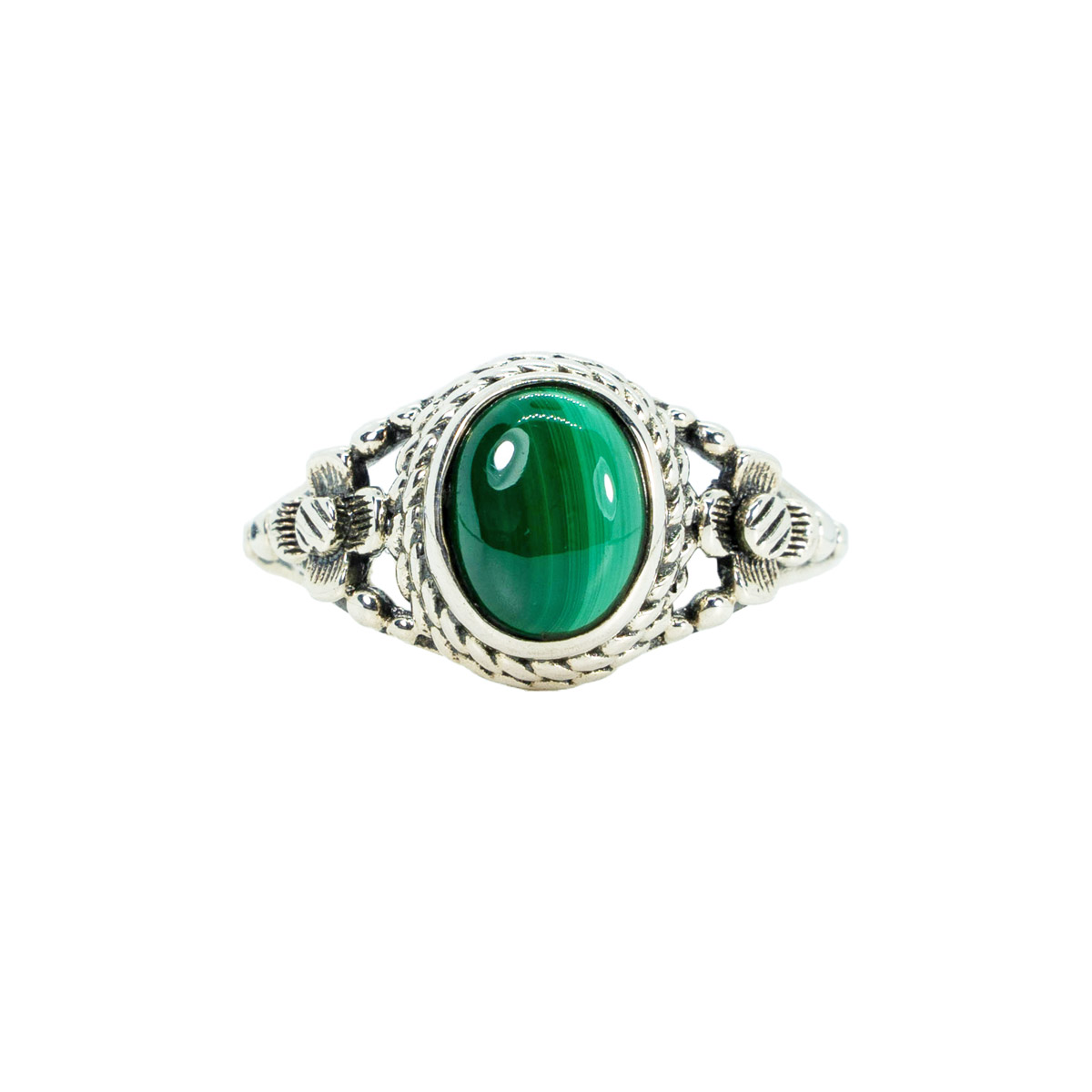 Sri Avinash Infused™ 3cts malachite Ring in Sterling Silver - Divine Spirit & Protection Infusion