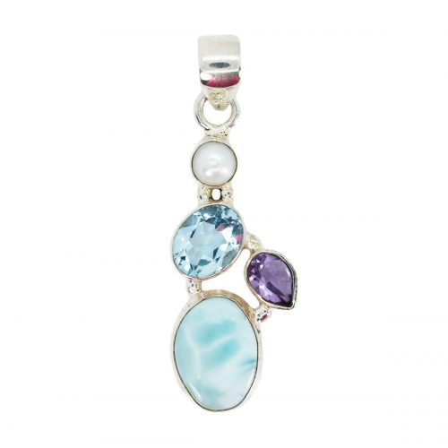 Sri Avinash Infused™ Larimar, Topaz, Pearl & Amethyst Pendant in Sterling Silver - Divine Spirit & Protection Infusion