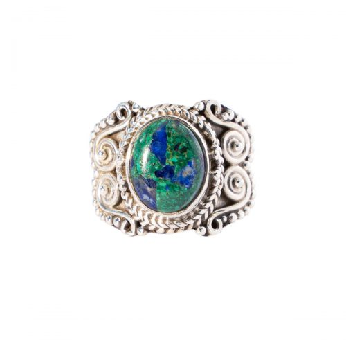 Sri Avinash Infused™ Azurite in Malachite Ring in Sterling Silver - Relationships & Prosperity Infusion