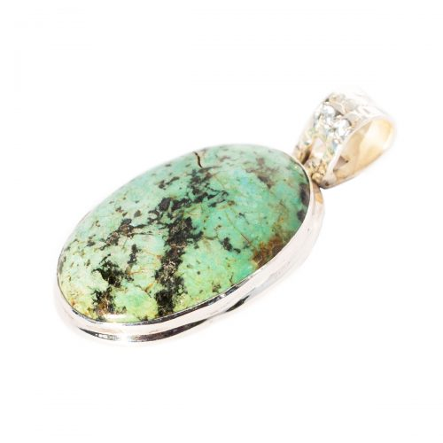 Sri Avinash Infused™ Norwegian Turquoise Pendant in Sterling Silver - Lightness & Joy Infusion