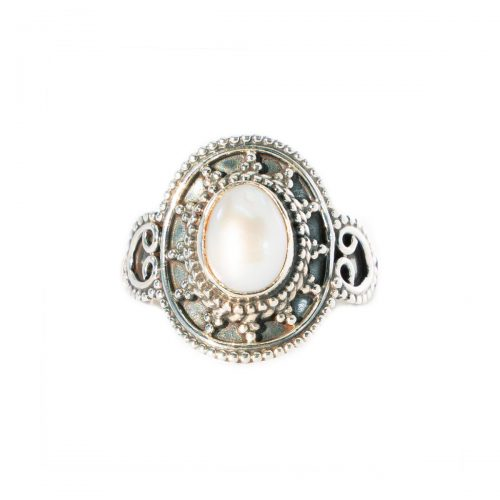 Sri Avinash Infused™ Pearl Crown Ring in Sterling Silver - Lightness & Joy Infusion