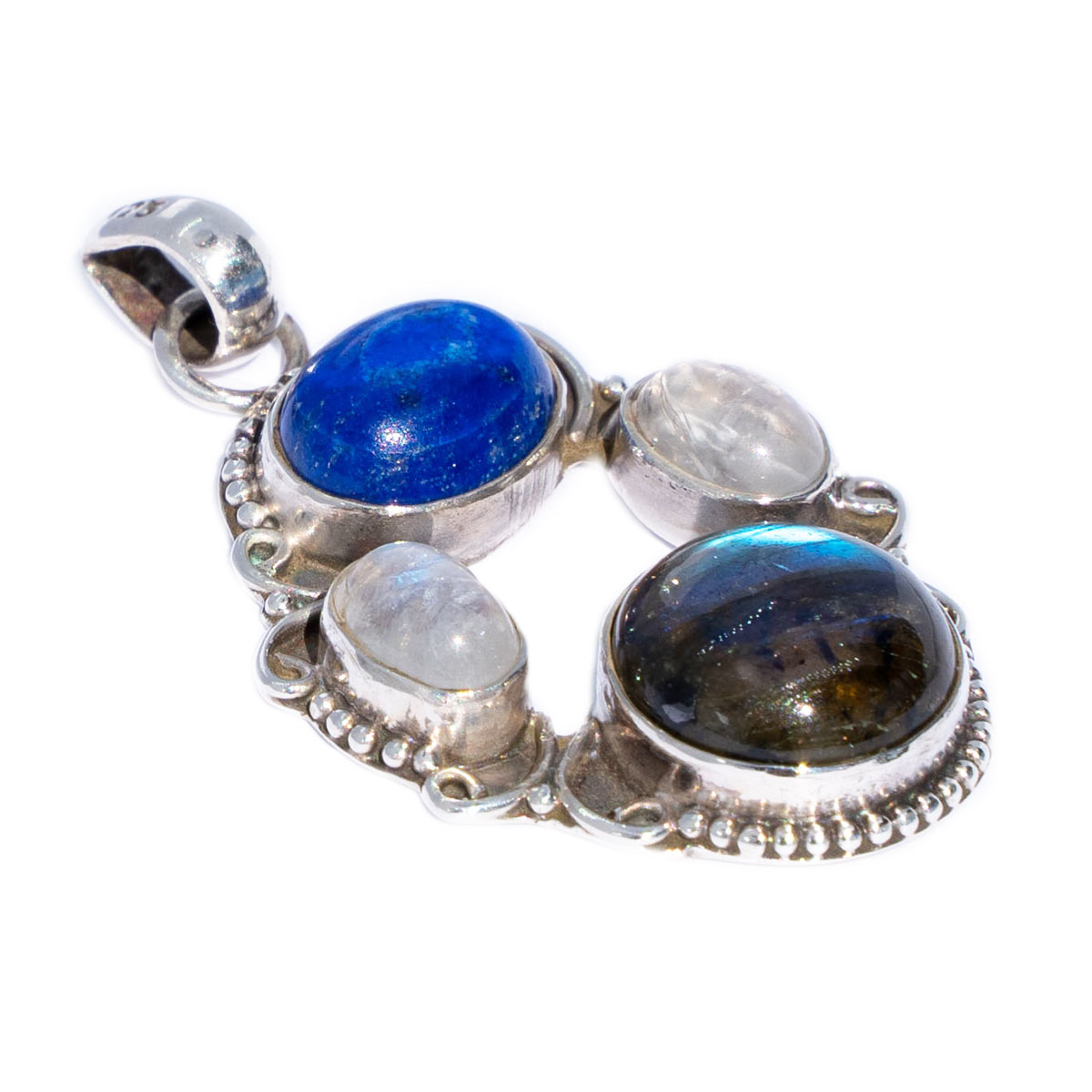 Sri Avinash Infused™ Lapis Lazuli, Labradorite & Moonstone Pendant in Sterling Silver - Divine Blessings Infusion
