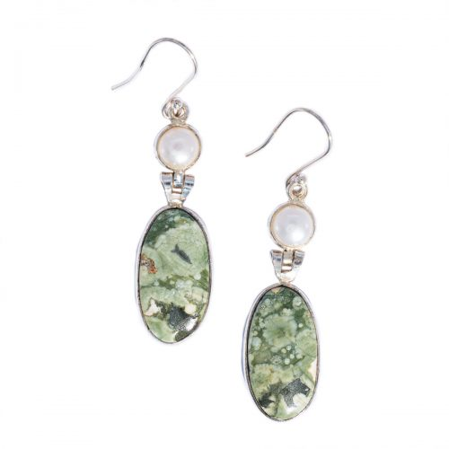 Sri Avinash Infused™ 19.4cts Rainforest Rhyolite Jasper & Pearl Earrings in Sterling Silver - Divine Spirit & Protection Infusion