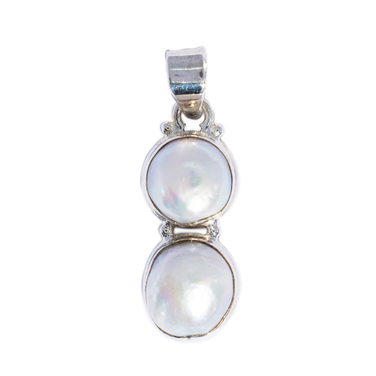 Sri Avinash Infused™ Twin Pearl Pendant in Sterling Silver - Divine Spirit & Protection Infusion
