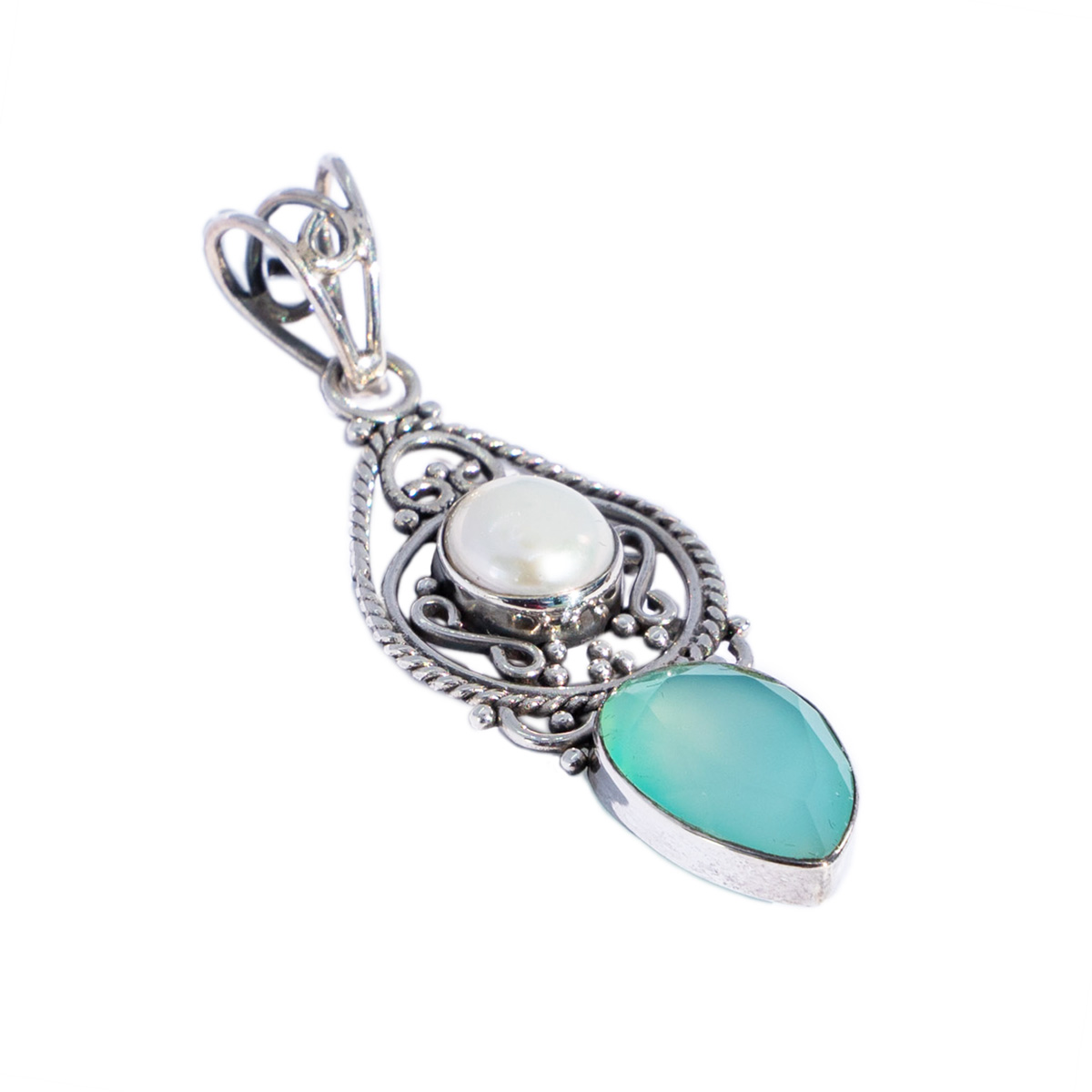 Sri Avinash Infused™ 7.8cts Aqua Chalcedony & Pearl Pendant in Sterling Silver - Divine Spirit & Protection Infusion