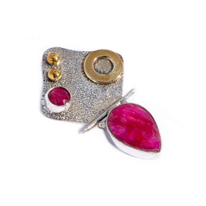 Sri Avinash Infused™ 6.5cts Ruby Two Tone Victorian Pendant in Sterling Silver - Lightness & Joy Infusion