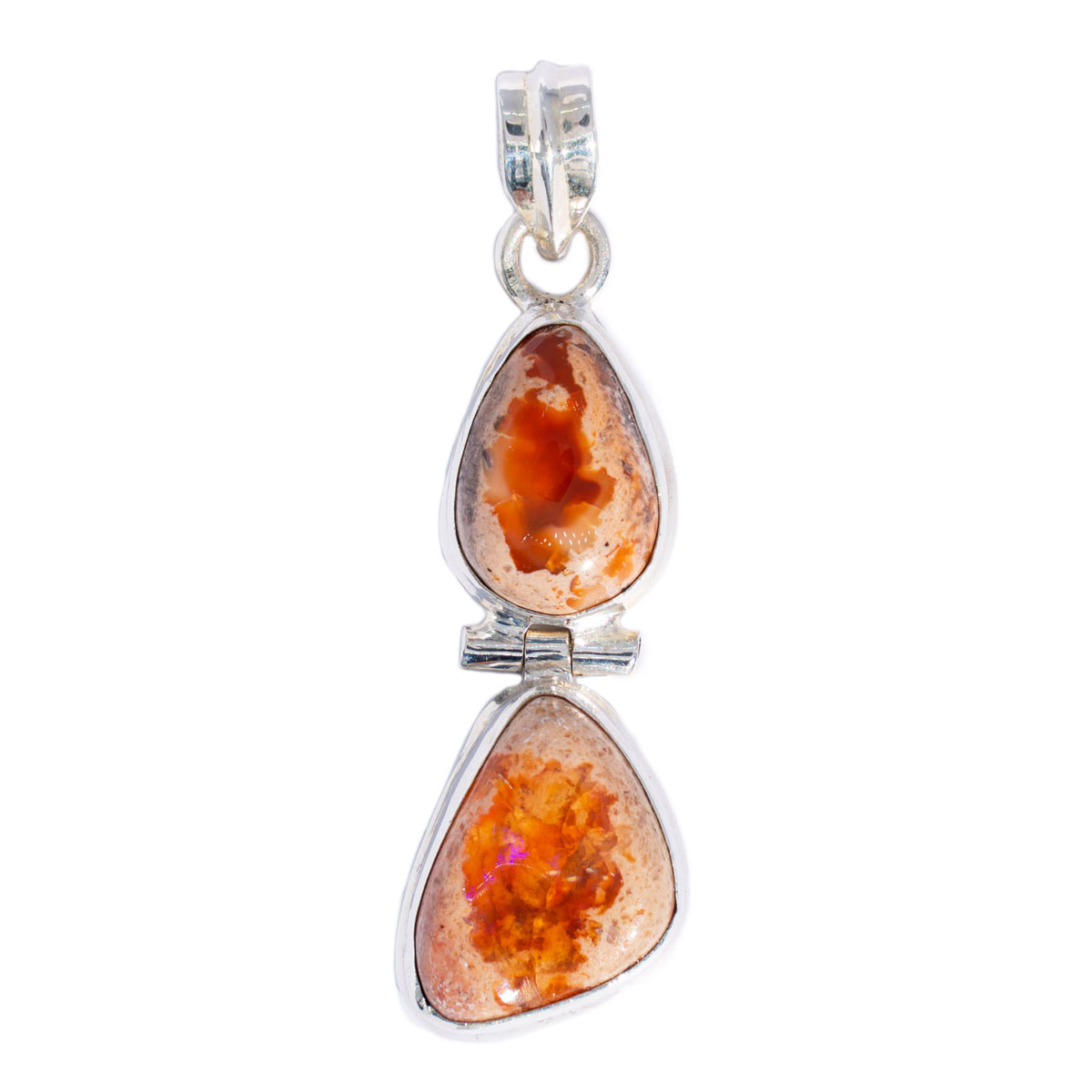 Sri Avinash Infused™ Mexican Fire Opal Pendant in Sterling Silver - Lightness & Joy Infusion