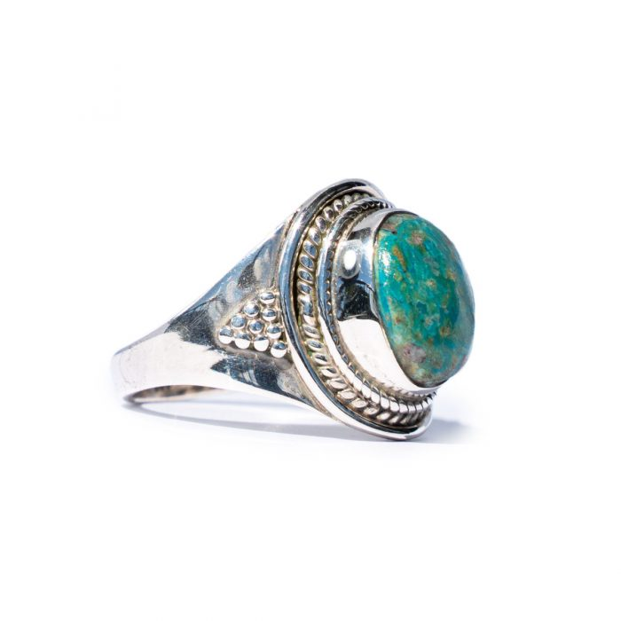 Sri Avinash Infused™ Green Opaline Ring in Sterling Silver - Divine Blessings Infusion