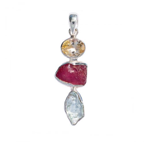 Sri Avinash Infused™ Citrine, Ruby & Aquamarine Pendant in Sterling Silver - Divine Blessings Infusion