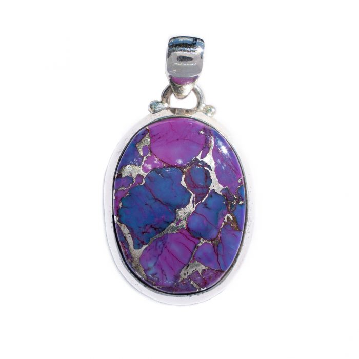 Sri Avinash Infused™ 13.7cts Purple Copper Turquoise Pendant in Sterling Silver - Divine Blessings Infusion