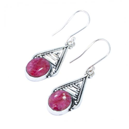 Sri Avinash Infused™ Ruby Empyrean Earrings in Sterling Silver - Divine Blessings Infusion