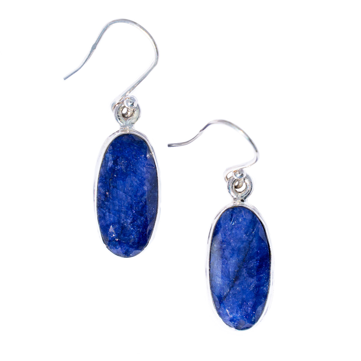Sri Avinash Infused™ 12.3cts Sapphire Earrings in Sterling Silver - Divine Blessings Infusion