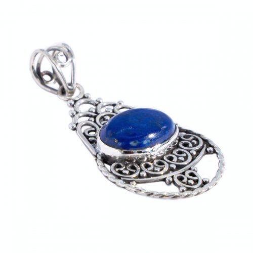 Sri Avinash Infused™ Lapis Lazuli Pendant in Sterling Silver - Lightness & Joy Infusion