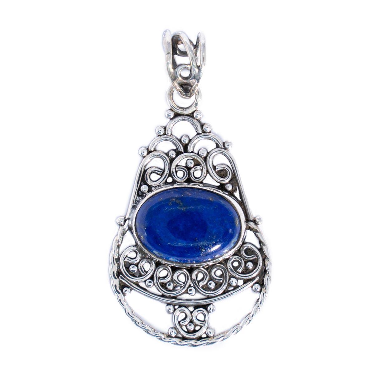 Sri Avinash Infused™ Lapis Lazuli Pendant in Sterling Silver - Lightness & Joy Infusion