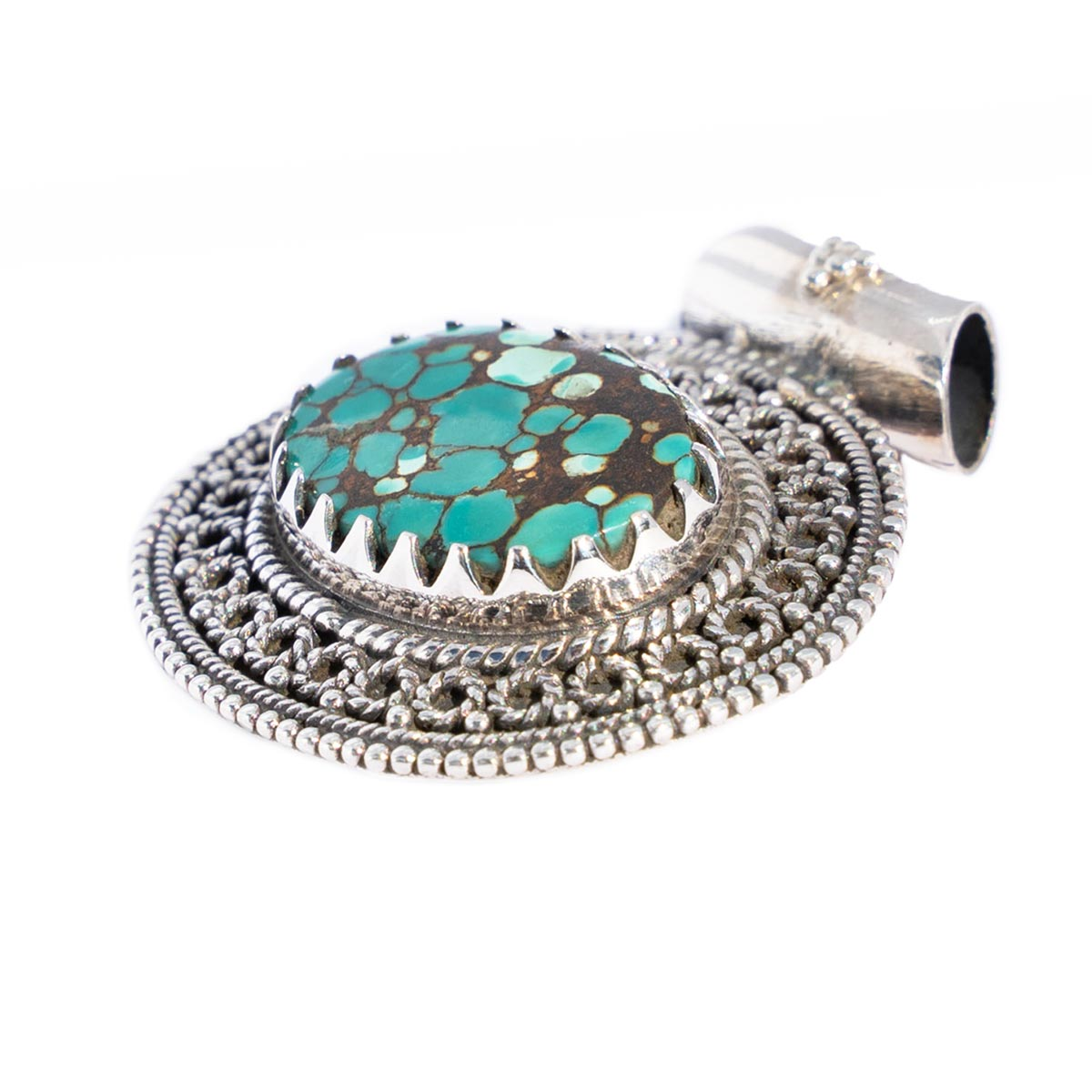 Sri Avinash Infused™ Tibetan Turquoise Pendant in Sterling Silver - Love & Compassion Infusion