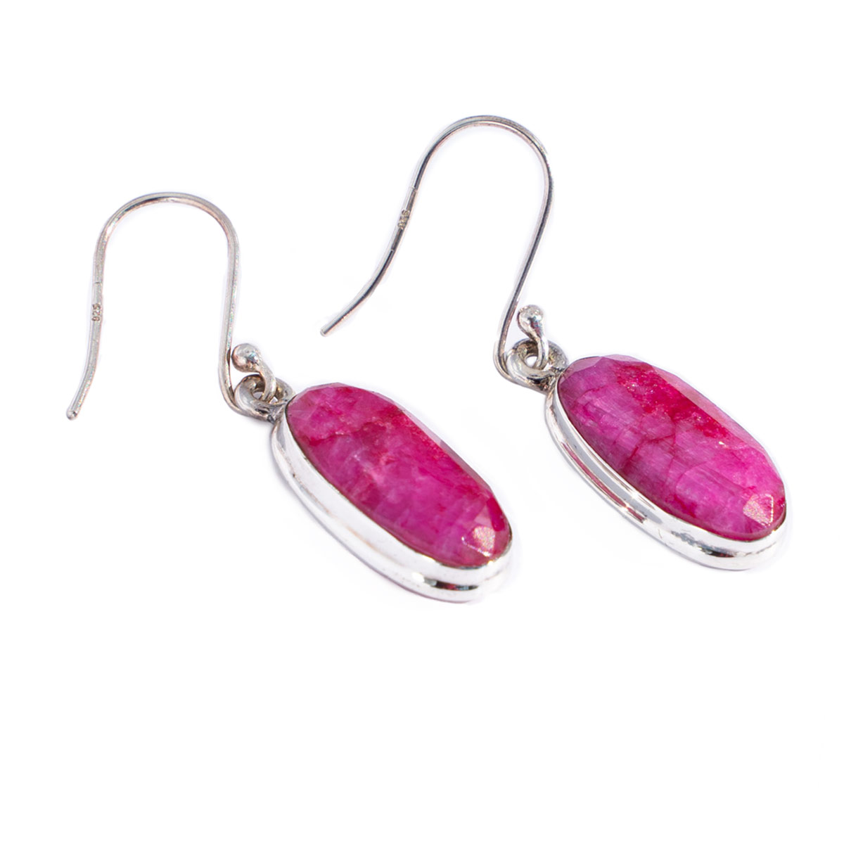 Sri Avinash Infused™ 13.2cts Ruby Earrings in Sterling Silver - Love & Compassion Infusion