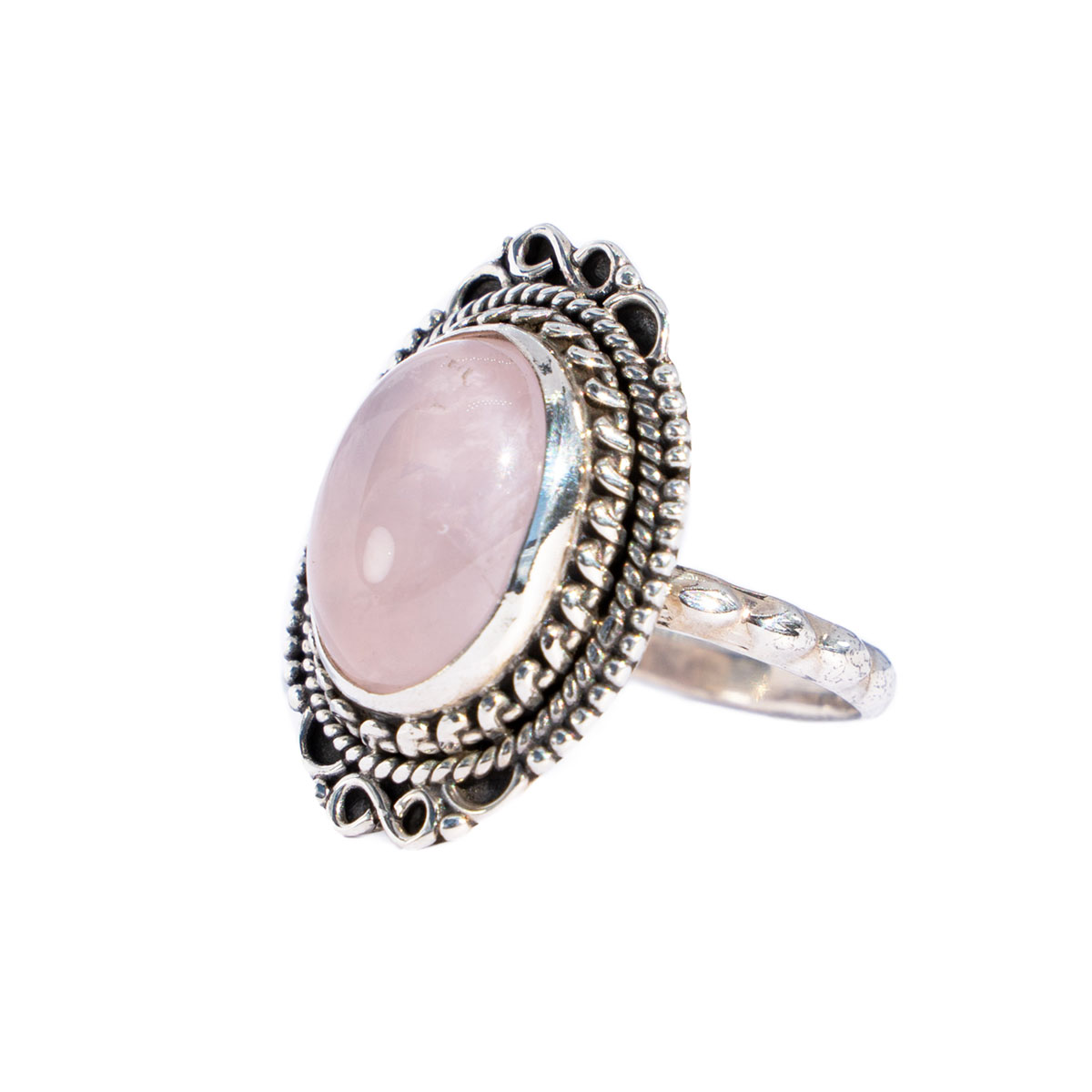 Sri Avinash Infused™ Rose Quartz Ring in Sterling Silver- Love & Compassion Infusion