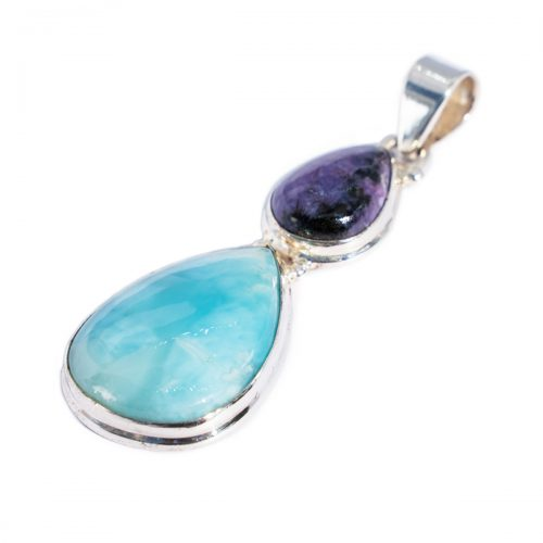 Sri Avinash Infused™ Larimar & Siberian Charoite Pendant in Sterling Silver - Love & Compassion Infusion