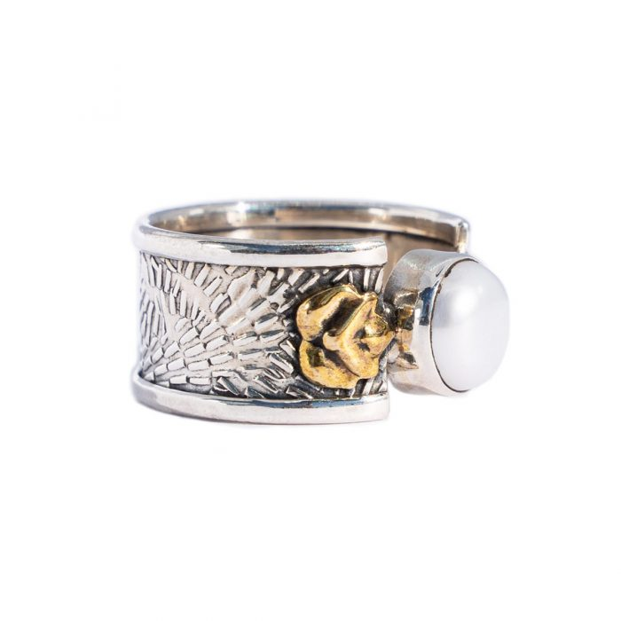 Sri Avinash Infused™ 3.15cts Pearl & Two Tone Sterling Silver Ring - Love & Compassion Infusion