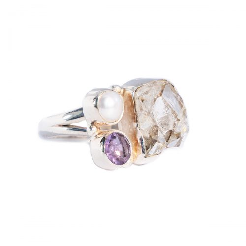 Sri Avinash Infused™ 7.8cts Herkimer Diamond, Amethyst & Pearl Ring in Sterling Silver - Love & Compassion Infusion