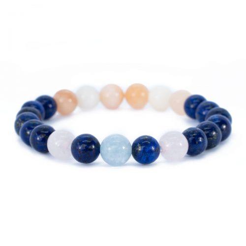 Sri Avinash Blessed™ Lapis Lazuli, Rose Quartz & Pink Aventurine Mala Bracelet