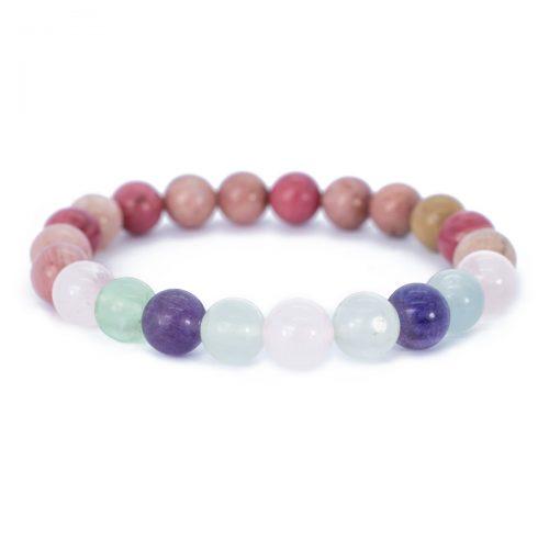 Sri Avinash Blessed™ Rhodrochrosite, Fluorite & Rose Quartz Mala Bracelet